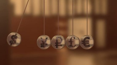 Balancing Balls, Newton's Cradle with currency sign — Stock Video