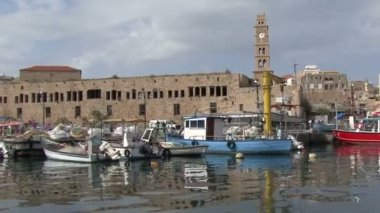 Port of the old city of Acre. — Stock Video