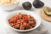 Fried ground meat with tomatoes for tacos — Stock Photo