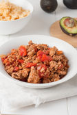 Fried ground meat with tomatoes ready for tacos — Stock Photo
