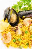 Plate with spanish paella — Stock Photo