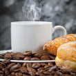 Coffee with croissant and donut — Stock Photo #76120171