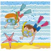 Cheerful children-Boys float under water-illustration — Stockvektor