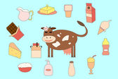 Cow and milk products — Stock Vector