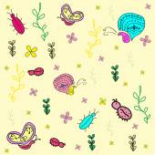 Hand drawn seamless pattern with insects — Vetor de Stock