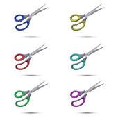 Tijeras de colores sobre un fondo blanco — Vector de stock