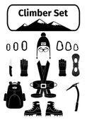 Climber icons set with equipment — ストックベクタ