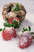 Strawberries in a basket on white snow — Stock Photo