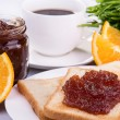 Breakfast with fresh coffee and toast with apple jam — Stock Photo #66982125