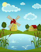 Windmill and house on the pond — Stock Vector