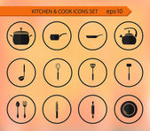 Vector kitchen and cooking icons — Stock Vector
