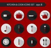 Flat stylish vector kitchen and cooking icons — Stock Vector