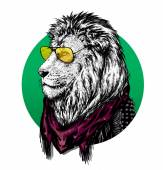 Lion wearing glasses and color scarf with drawing. — Stock Photo