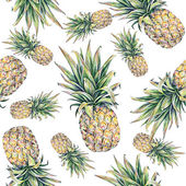 Pineapple on a white background. Watercolor colourful illustration. Tropical fruit. Seamless pattern — Stock Photo