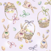 Rabbit with Easter basket on a pink background. Color Easter eggs. Watercolor drawing. Handwork. Seamless pattern — Stock Photo