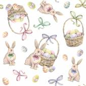 Rabbit with Easter basket on a white background. Color Easter eggs. Watercolor drawing. Handwork. Seamless pattern — Stock Photo