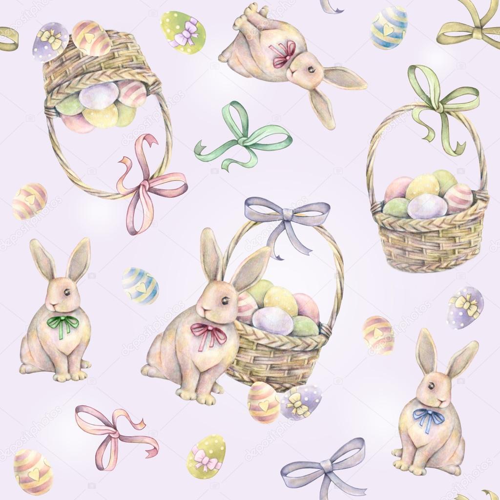 Lapin avec panier de p ques sur fond rose couleur des oeufs de p ques dessin aquarelle - Dessin oeuf de paques couleur ...