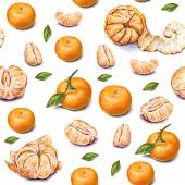 Tangerines. Watercolor drawing. Ripe peeled tangerine. Handwork. Tropical fruit. Healthy food. Seamless pattern for design — Stock Photo
