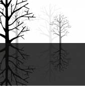 Forest reflection in Monotone — Stock Vector