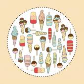 Ice cream pastel colors variation on beige background — Stockvector