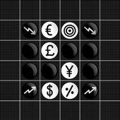 Stock markets trade set iconin  othello game — Stock Vector