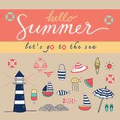 Hello summer colorful — Stock Vector