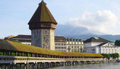 View of historical wooden Chapel Bridge in Lucerne — Stock Photo