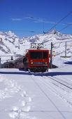Scene of train running at Gornergrat station — Stock Photo