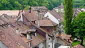 Top view old town city and house roof — Stock Photo