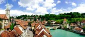 Panorama of historical old town city Bern — Stock Photo