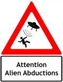 Alien flying saucer road sign — Stock Photo