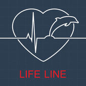 Vector life line dolphin and pulse in heart — Stock vektor