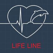 Vector life line dolphin and pulse in heart — Vector de stock