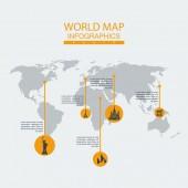 Vector world map statue. — Stock Vector