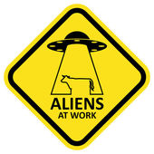 Vector sign aliens at work. — Stock Vector