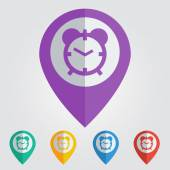 Color pins with clock  icons. — Vetor de Stock