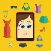 Girl shopping icons — Stock Vector