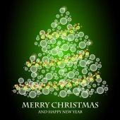 Glühend grün Weihnachtsbaum — Stockvektor