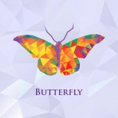 Vector butterfly color geometric. — Stock Vector