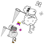 Sheep with butterfly net — Stock Vector