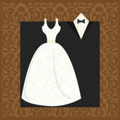 Wedding dress and suit — Stock Vector