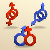 Contact icons as gender signs — Stock Vector