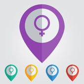 Female sign   pin icon — Stock Vector