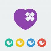 Heart and patch icons set — Stockvektor