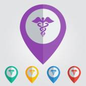 Medical sign, map pin — Stock Vector