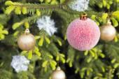 Christmas balls and snowflakes on the Christmas tree — Stock Photo