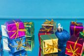 Christmas gifts and toys on a blue background — Stock Photo