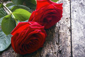 Two red roses on a wooden background — Stock Photo