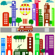 Cute vector illustration of a city stree  -  Stock Illustration — Stock Vector #67094501