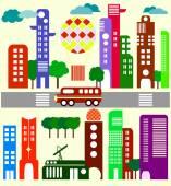 Cute vector illustration of a city stree  -  Stock Illustration — Stock Vector